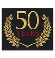 50 years anniversary and golden laurel wreath vector image vector image