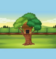 a tree house in nature vector image vector image