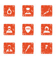 actor icons set grunge style vector image vector image