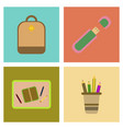 assembly flat icons school bag usb pencil table vector image vector image