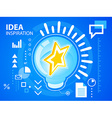 bright idea inspiration of star on blue back vector image vector image