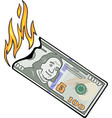 burning hundred dollars vector image vector image