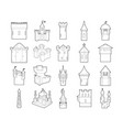castle icon set outline style vector image vector image