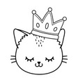 cat with crown black and white vector image vector image