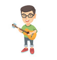 caucasian boy singing and playing acoustic guitar vector image vector image