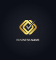 check mark square connect gold logo vector image vector image