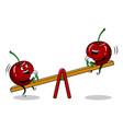 cherry on seesaw pop art vector image vector image