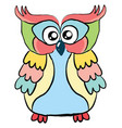 colorful owl on white background vector image vector image