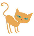cute ginger orange cartoon cat with green eyes vector image