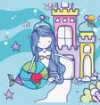 cute mermaid cartoons vector image vector image