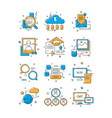 digital media icons social marketing community vector image vector image