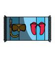 diving mask flip flops and towel vector image vector image