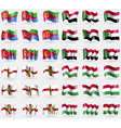 Eritrea Sudan Alderney Hungary Set of 36 flags of vector image vector image