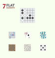 flat icon play set of ace backgammon chess table vector image vector image