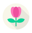 Flat Nature Tulip Flower Circle Icon with Long vector image vector image