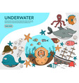 flat underwater life elements set vector image