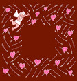 frame with cupid and hearts vector image vector image