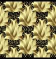 gold 3d vintage floral seamless pattern vector image vector image