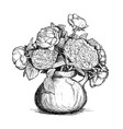 hand drawing rose and peony flower bouquet in vector image