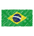 hand drawn national flag of brasil isolated on a vector image