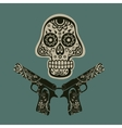 Hand drawn skull with guns vector image vector image