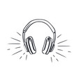 headphones headset with music playing loud sketch vector image vector image
