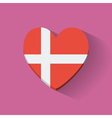 Heart-shaped icon with flag of Denmark vector image vector image