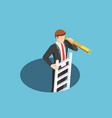 isometric businessman climbs out hole by vector image vector image