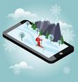 isometric santa claus skiing santa cross country vector image vector image