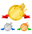 Medals set 4 floral decorations vector image