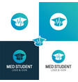 medical student hat healthcare logo and icon vector image