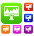 monitor and a chart set collection vector image vector image