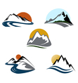 mountains emblem set vector image vector image