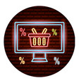 online shopping neon card vector image vector image