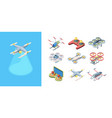 quadrocopters flying drones set robotic modern vector image vector image