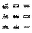 railroad car icons set simple style vector image vector image