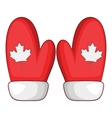 Red mittens with a maple leaf icon cartoon style vector image vector image
