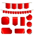 Red Ribbons Set isolated On Wtite Background vector image vector image
