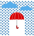 red umbrella under rain greeting card stock vector image vector image