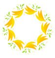 round wreath of yellow appetizing bananas with vector image