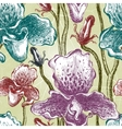 Seamless orchid floral pattern EPS10 vector image vector image