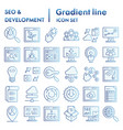 seo and development flat icon set computing vector image