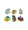 set isometric city constructor elements vector image