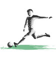 soccer player kicking ball of sport vector image