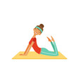 sportive young woman character doing fitness vector image