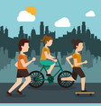 sporty people athletic with city background vector image vector image