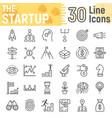 startup line icon set development symbols vector image