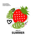 trendy tropic and strawberry background vector image vector image