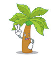 two finger palm tree character cartoon vector image