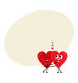 two hearts hugging embracing each other couple vector image